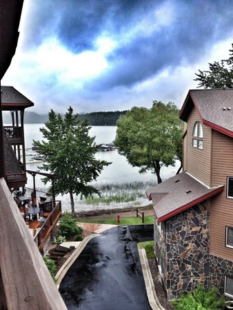 view from the hot tub on a rainy day picture of lodge at whitefish rh en tripadvisor com hk