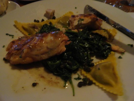 Legal Sea Foods: Salmon with ravioli and spinach