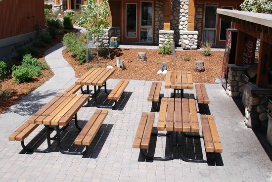 Hidden Ridge Resort: Picnic tables near gas BBQ grills