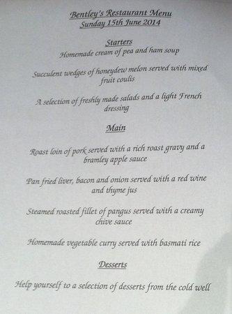 Britannia Hotel Coventry: Our Dinner Choice