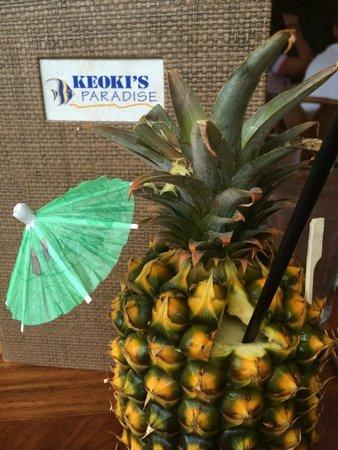 Keoki's Paradise : Keoki's Cocktail in the Pineapple