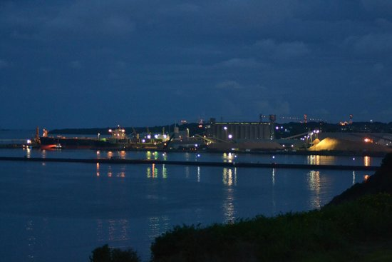 Clifftop Accommodation: the Port at night from the balcony