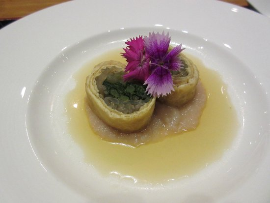 Tojo's Restaurant: Japanese spinach wrapped in inari.