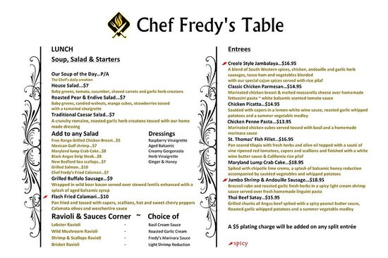 Chef Fredy's Table : Lunch Menu