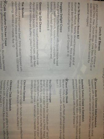 Elvira's Cafe: menu sample