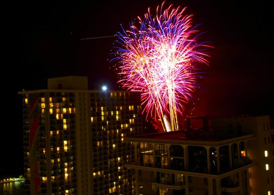 Grand Waikikian by Hilton Grand Vacations: Friday night fireworks from our balcony