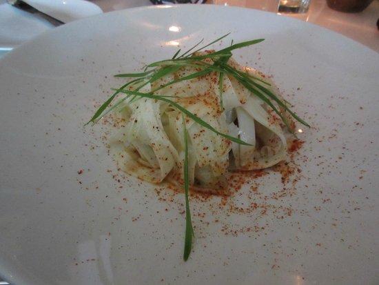 Hawksworth Restaurant: Ancho glazed pork belly.  Heart of palm, yucca, jícama, lime.