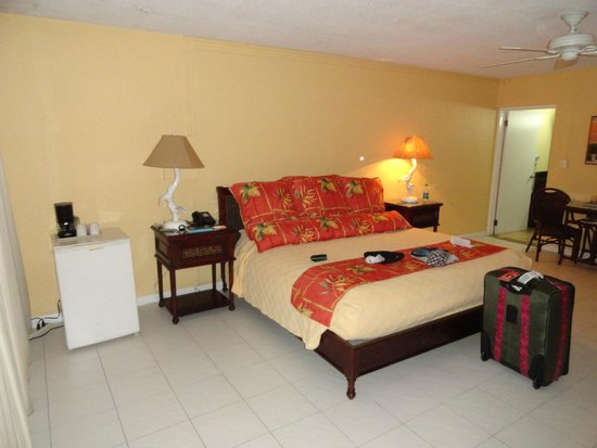 The Palms at Pelican Cove: A clean, comfy room.  Mini-fridge is great to have.