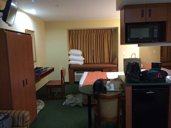 Microtel Inn & Suites by Wyndham Bushnell: View from bathroom/tub of desk/bed, etc.