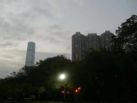 view from Kowloon Park in the evening