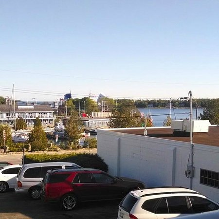 Blue Bay Motel: View from Room #10. Note the Chi-Cheemaun passenger ferry across the harbor.