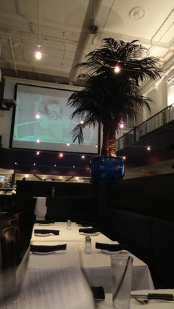 Majestic Grille: Looking the opposite directions towards the projector screen