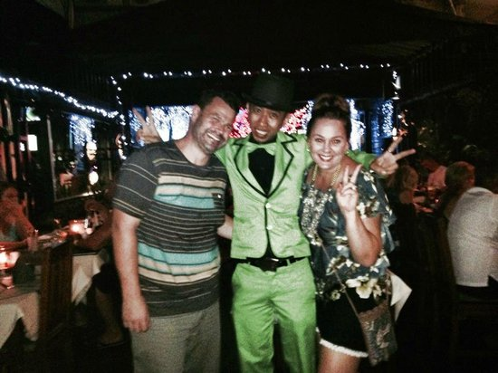 Nirvana Restaurant: Hubby and I with Julius the magician  - What a fun guy!!