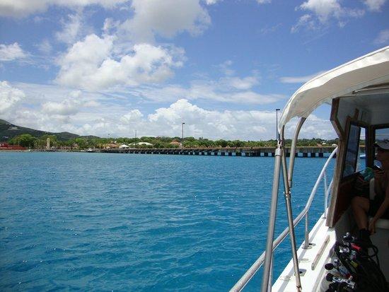St. Croix Ultimate  Bluewater Adventures (SCUBA), Inc.: Scuba Dos approaches Frederiksted Pier