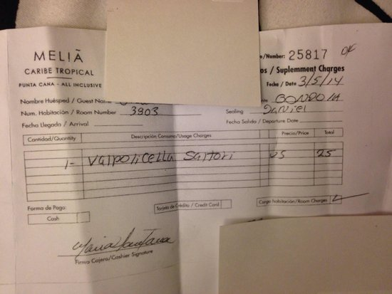 Melia Caribe Tropical: Charges
