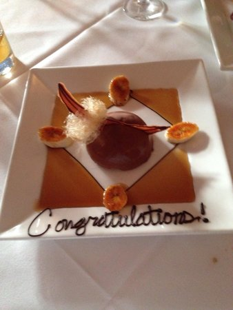 Peninsula Grill : A special touch to our dessert as we were on our honeymoon!
