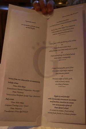 Granvara Relais & Spa Hotel : Sample dinner menu...VERY nice!