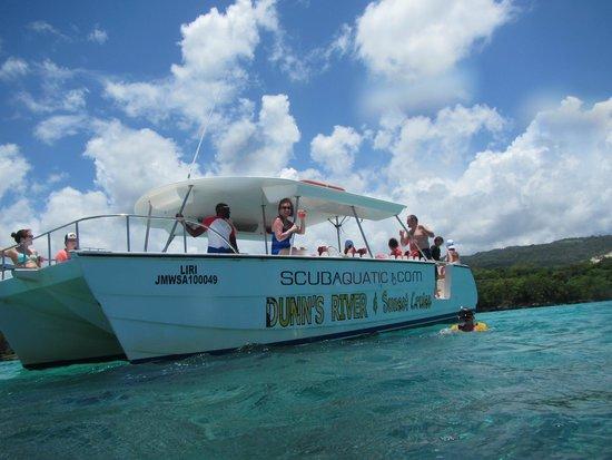 Grand Bahia Principe Jamaica: We took a private catamaran to Dunn's River Falls