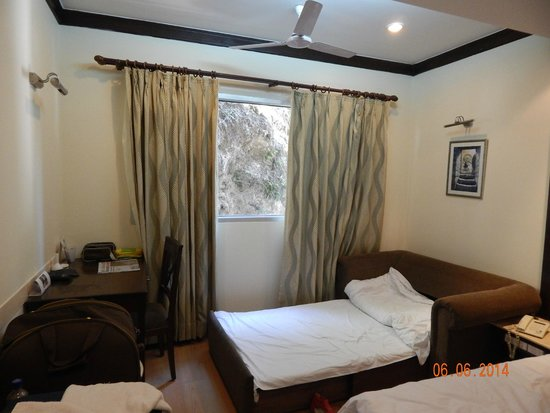 Hotel Madhuban Highlands: Deluxe room with stone wall on the window.