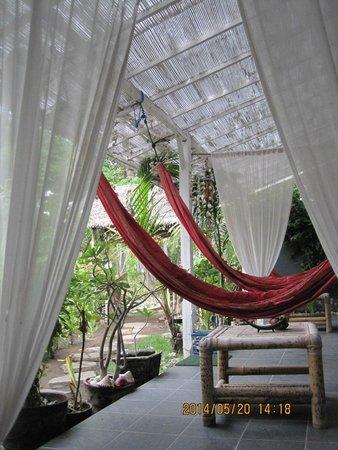 Damai Homestay: hammocks in front of the bedroom