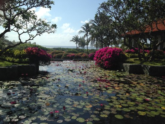 Grand Hyatt Bali: Pond by the Lobby with ocean view