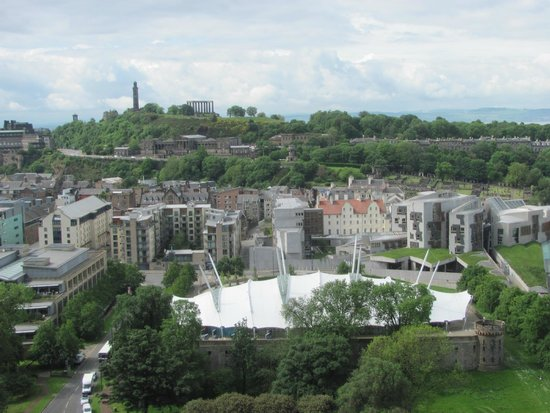 Holyrood Park : Dynamic Earth and the Scottish Parliament from the climb to Arthur's Seat