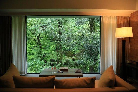 Arcana Izu: 部屋に入ると窓一面に緑が広がります