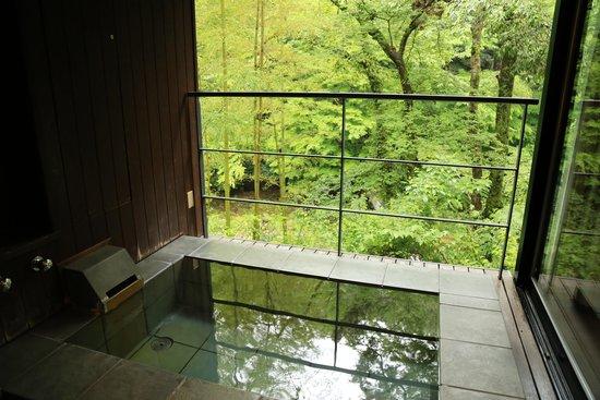 Arcana Izu: 広々とした半露天のバスルームからも新緑が