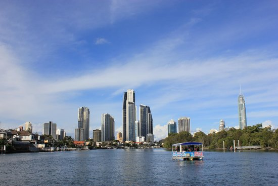 Surfers Paradise River Cruises: View of the river & buildings from the boat.