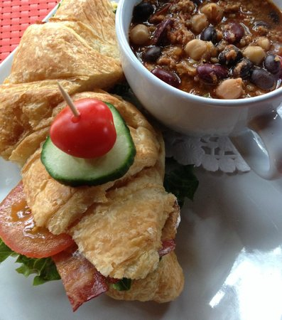The Thorny Rose Cafe: Homemade Chili and croissant sandwich