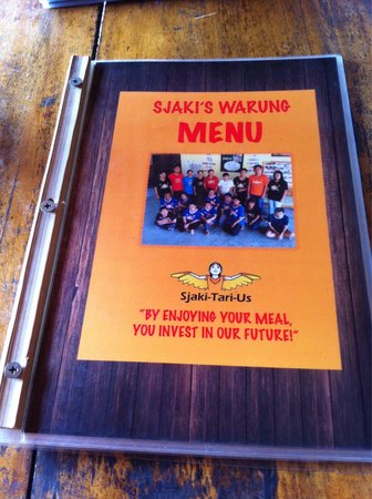 Sjaki's Warung menu - Enjoy a meal there and you actually invest in the future of the students a