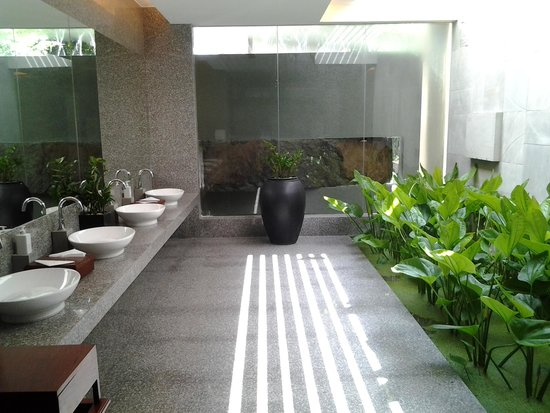 Borei Angkor Resort & Spa: the most luxurious lady's bathroom complete with lily pond and  waterfall!