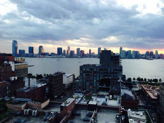 The Dominick Hotel: View over Holland Tunnel to NJ at sunset