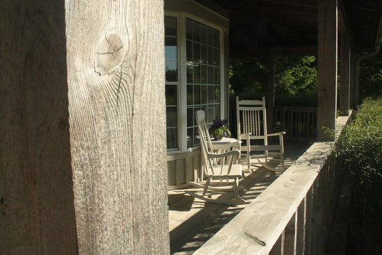 Soft Landings: Lower level porch overlooking pond