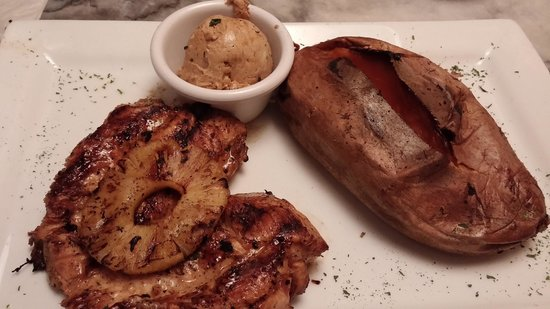 Moonshine Glazed Chicken With Baked Sweet Potato And Maple Butter