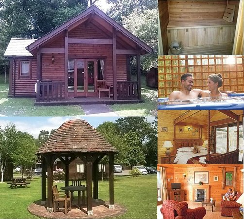 Tilford Woods Lodge Retreat: Cobbett luxury lodge with king size four poster and outdoor hot tub