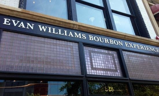 Evan Williams Bourbon Experience: restored Frank Lloyd designed glass on exterior