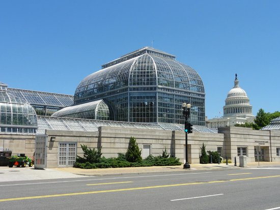 United States Botanic Garden: Conservatory/Greenhouse with Capital dome beyond