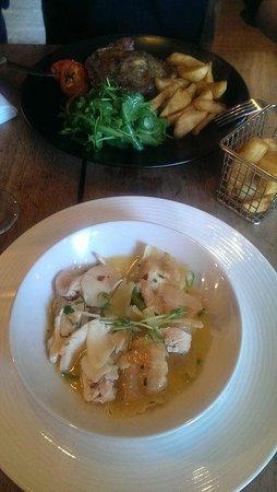 The Barking Dog Restaurant Belfast: Mains - the  Ribeye and chicken with sweet potatoe ravioli