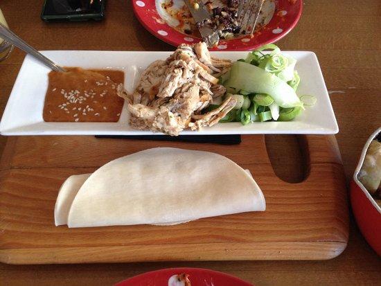 Deano's Graze & Grill: Chicken and peanut sauce pancake wraps - Grazing dish
