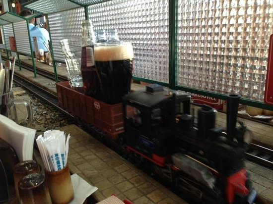 Vytopna Railway Restaurant - Vaclavske namesti : Beer train... too cool!