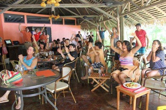 Arenas del Mar Beachfront & Rainforest Resort : Watching World Cup ~ Costa Rica wins!