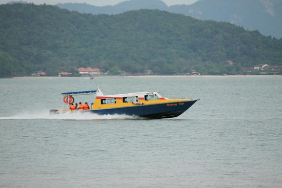 Vivanta by Taj Rebak Island, Langkawi: View from the beach. That's one of the ferries of the hotel
