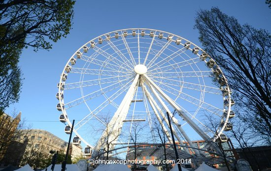 Piccadilly Gardens: Manchester Eye- the big wheel offering stunning views of the city and beyond