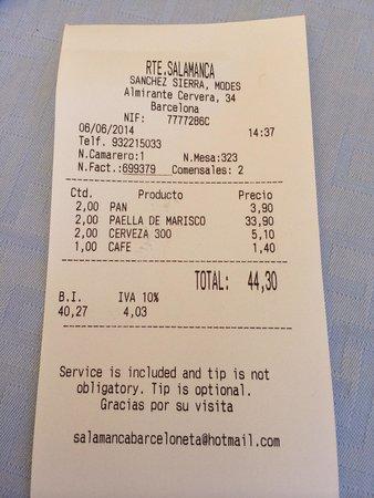 Restaurante Salamanca : Ricevuta