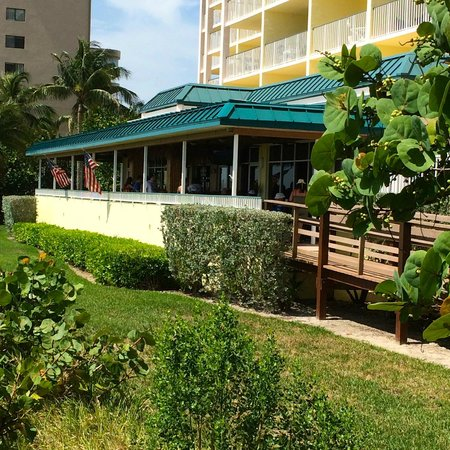 Sunset Grille: The restaurant from the side as you walk down the little boardwalk