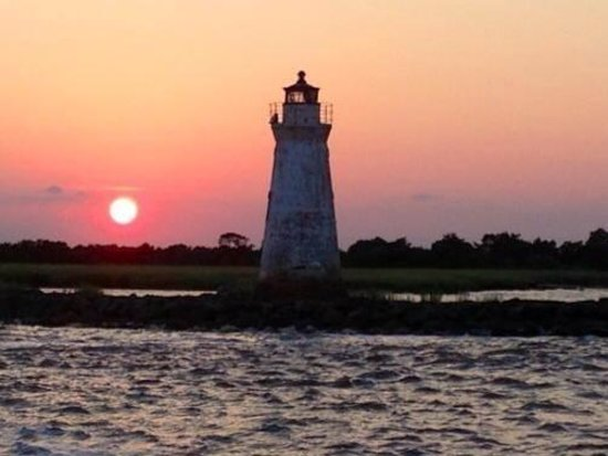 Cockspur Lighthouse at sunset