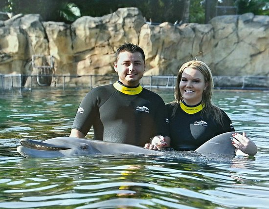 Discovery Cove: Pictures with our dolphin Aries!!!