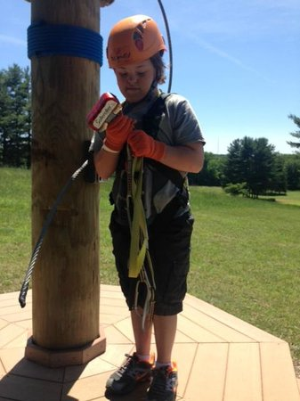 Hocking Hills Canopy Tours: Kristopher starting out on the Dragon Fly Zipline