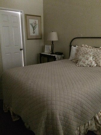 Meadowlark Inn : Cozy room with quilt, electric firelace, iron bed